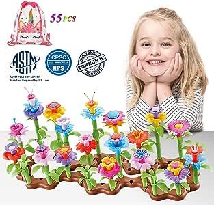 LuckFire Flower Garden Building Toys, 11 Colors Bouquet Flower Arrangement STEM Garden Toy Set, DIY Educational Gardening Arts& Crafts for Girl Boy Christmas Birthday Gifts (55 PCS)