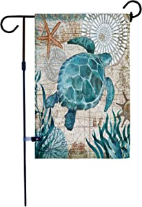 AKPOWR Turtle Garden Flag Burlap Vertical Double Sided Spring Summer Marine Life Farmhouse Yard Outdoor Decorative 12.5 x 18 Inch