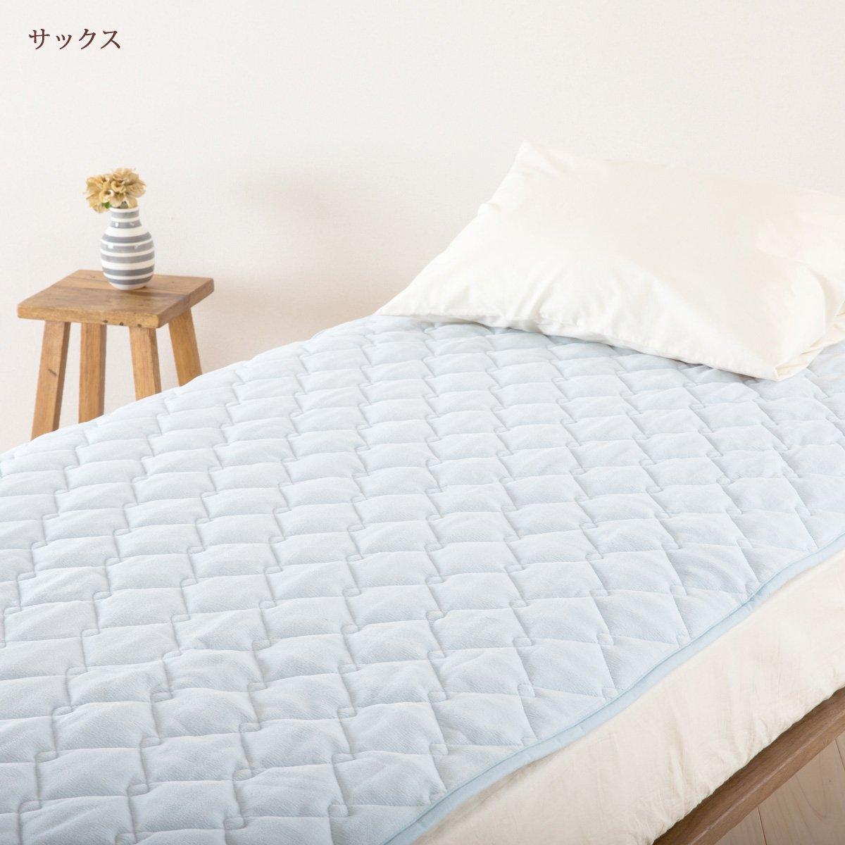 山甚/ジンペット 敷きパッド マイクロマティークファルベ セミダブル 軽量 日本製 2152 サックス[水色][64] セミダブル B07KFRHG1G