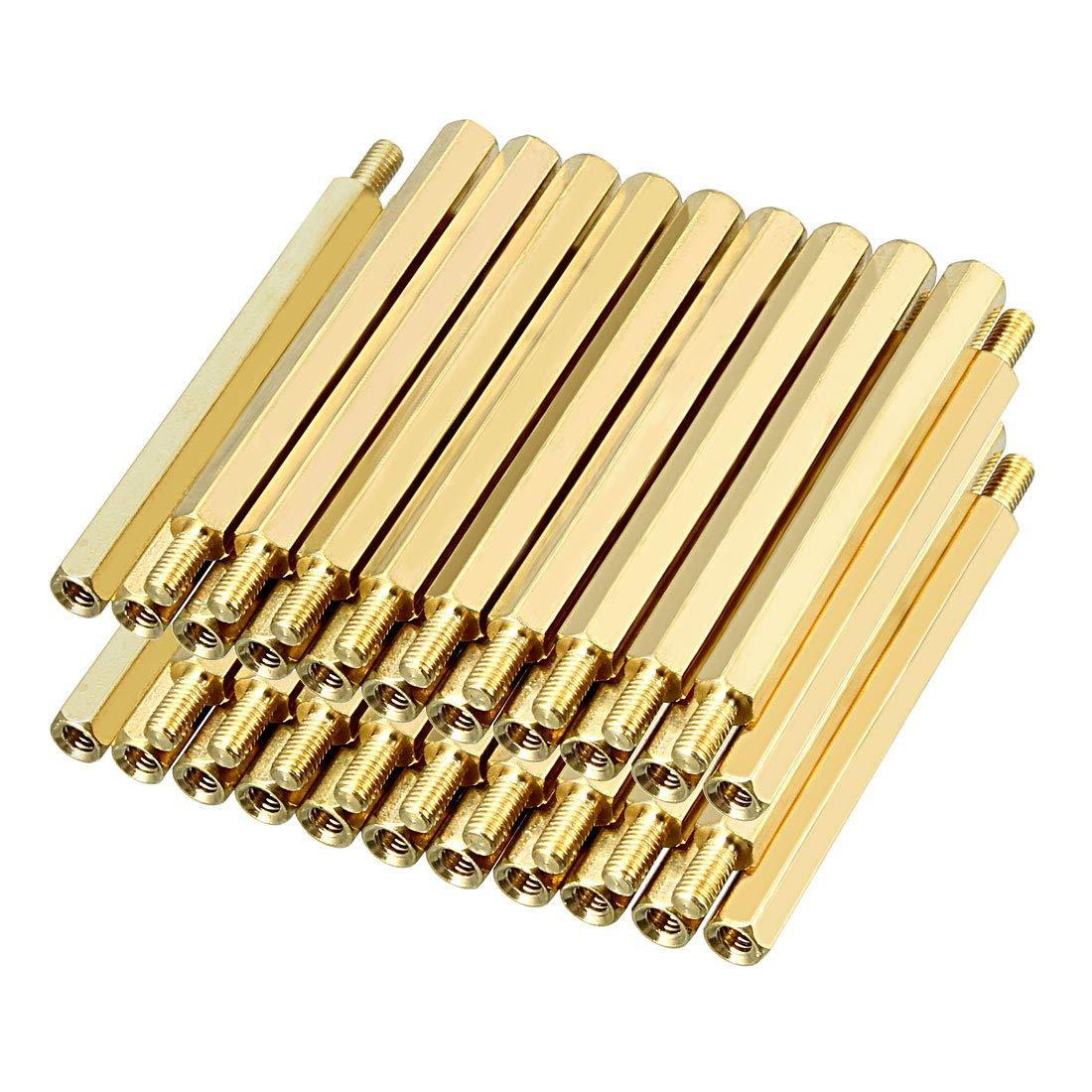 uxcell 40pcs M3 60 6mm Female Male Thread Brass Hex Standoff Spacer Screws PCB Pillar