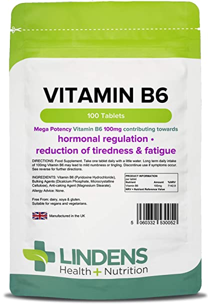 Lindens - tabletas de 100 mg de vitamina B6 - 100 Pack
