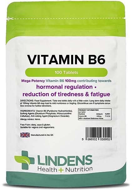Lindens - tabletas de 100 mg de vitamina B6 - 100 Pack