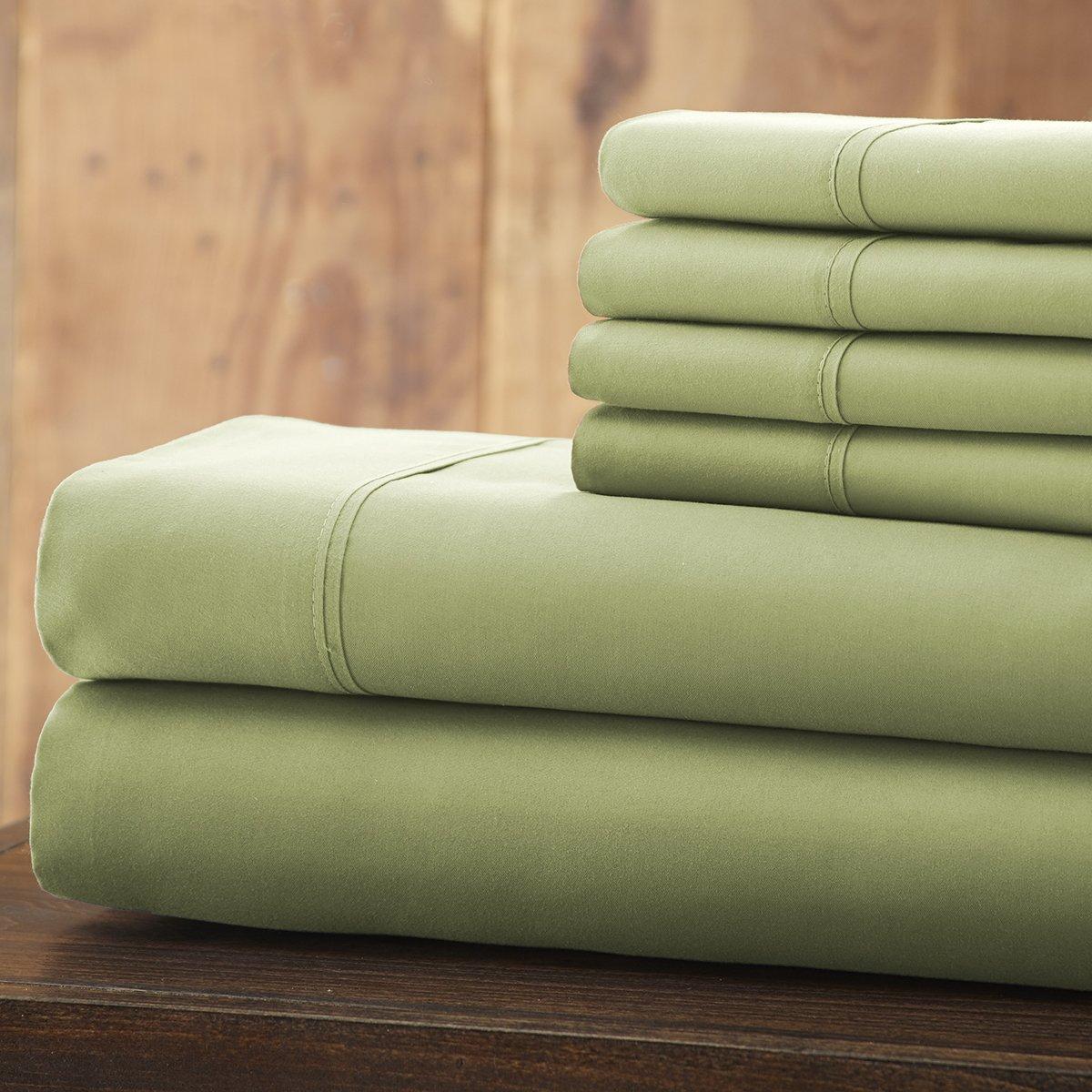 Spirit Linen 6 Piece Everyday Essentials 1800 Series Sheet Set, King, Sage