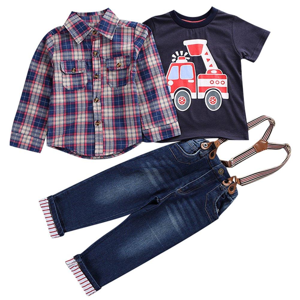 Le SSara Ragazzi Cool manica lunga camicia Plaid & t-shirt & Overalls Outfit 3pcs TTZ-160704