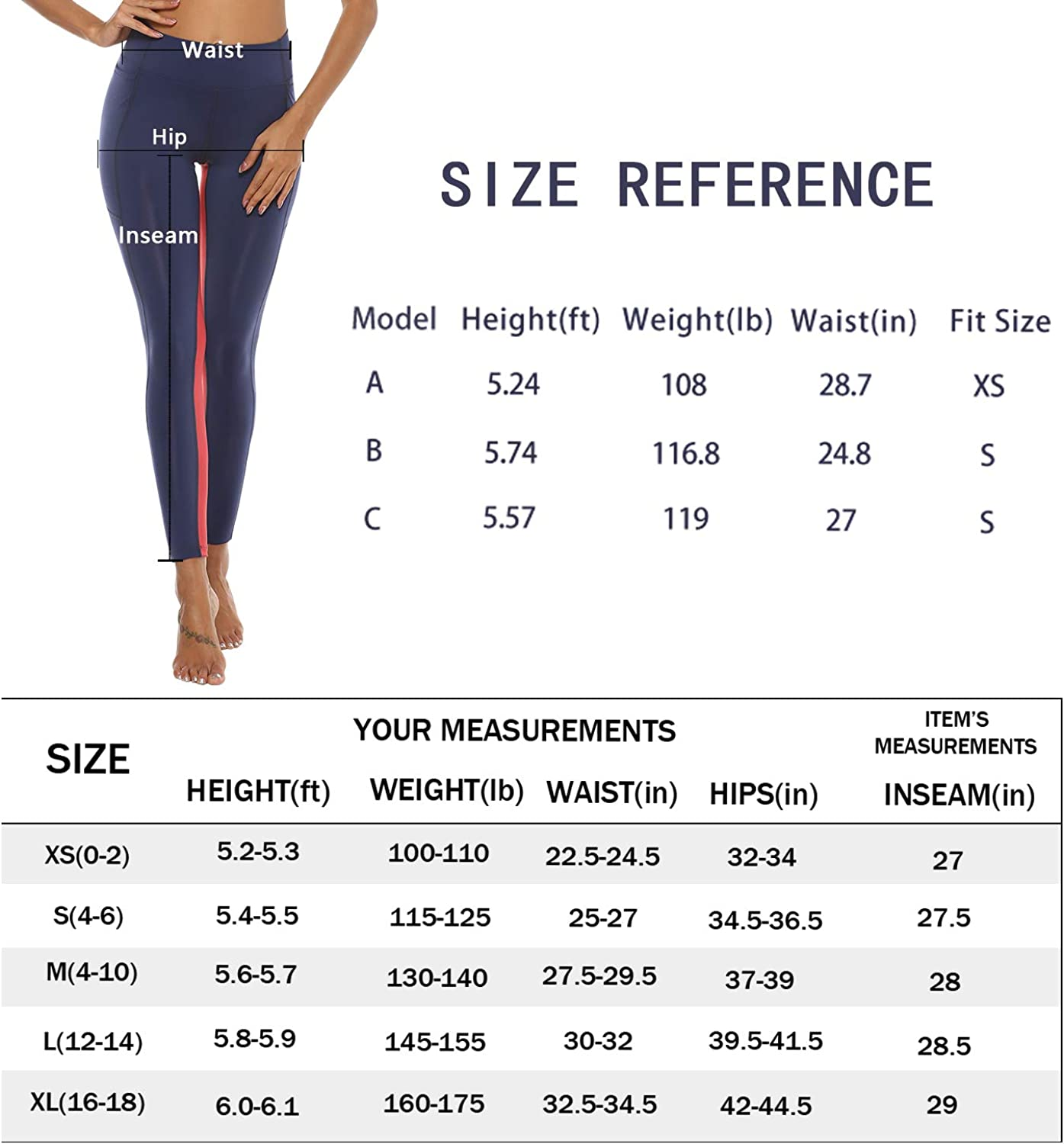 LUWILD Womens High Waist Workout Leggings with Pockets Stretchy Tummy Control Yoga Pants for Gym