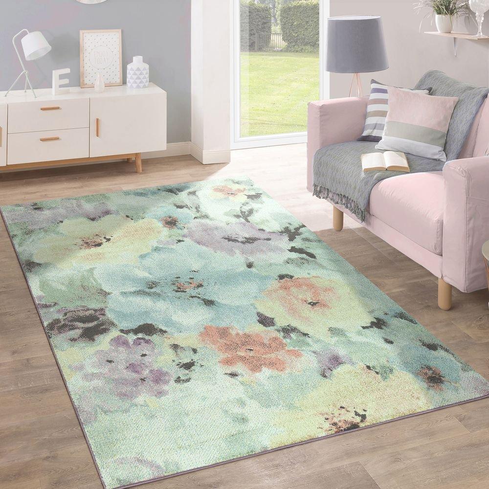 Paco Home Kurzflor Teppich Trendige Pastellfarben Modernes Blumen Design Mehrfarbig Bunt, Grösse 160x220 cm