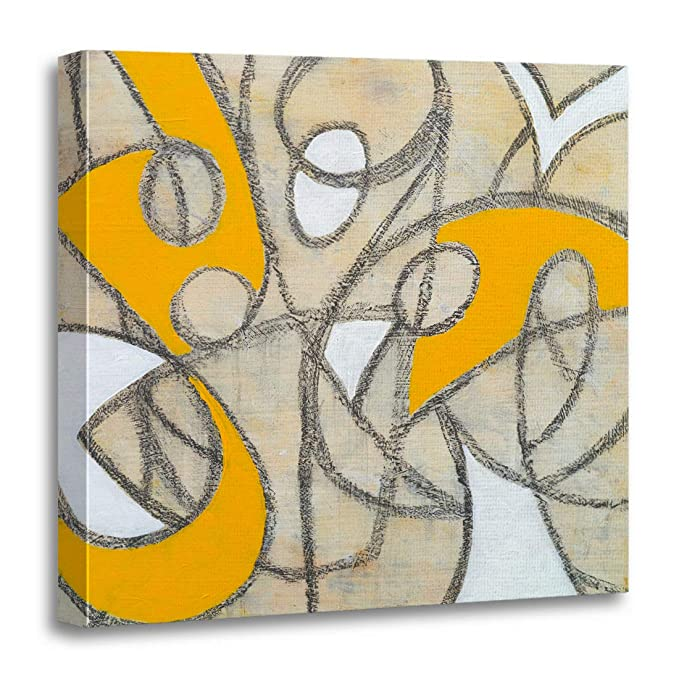 Yellow And Black Abstract Art For Modern Homes