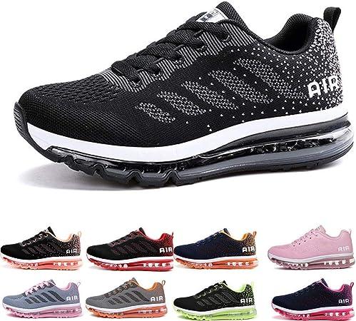 MZHI Zapatillas de Deporte Modelos de Pareja Suela de Caucho con amortiguación Completa Zapatillas de Running, Black and white-37: Amazon.es: Hogar