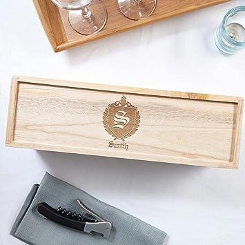 Oxford Monogram caja vino de madera personalizada (personalizable producto)