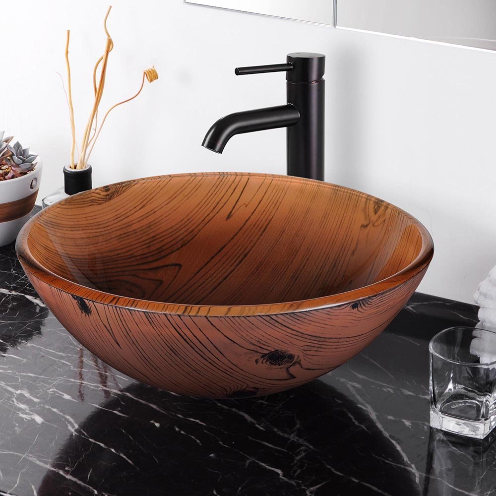 Aquaterior Tempered Glass Round Vessel Sink Wood Grain Pattern Above Counter Bathroom Lavatory Vanity Hotel Bowl Basin by Aquaterior (Image #2)
