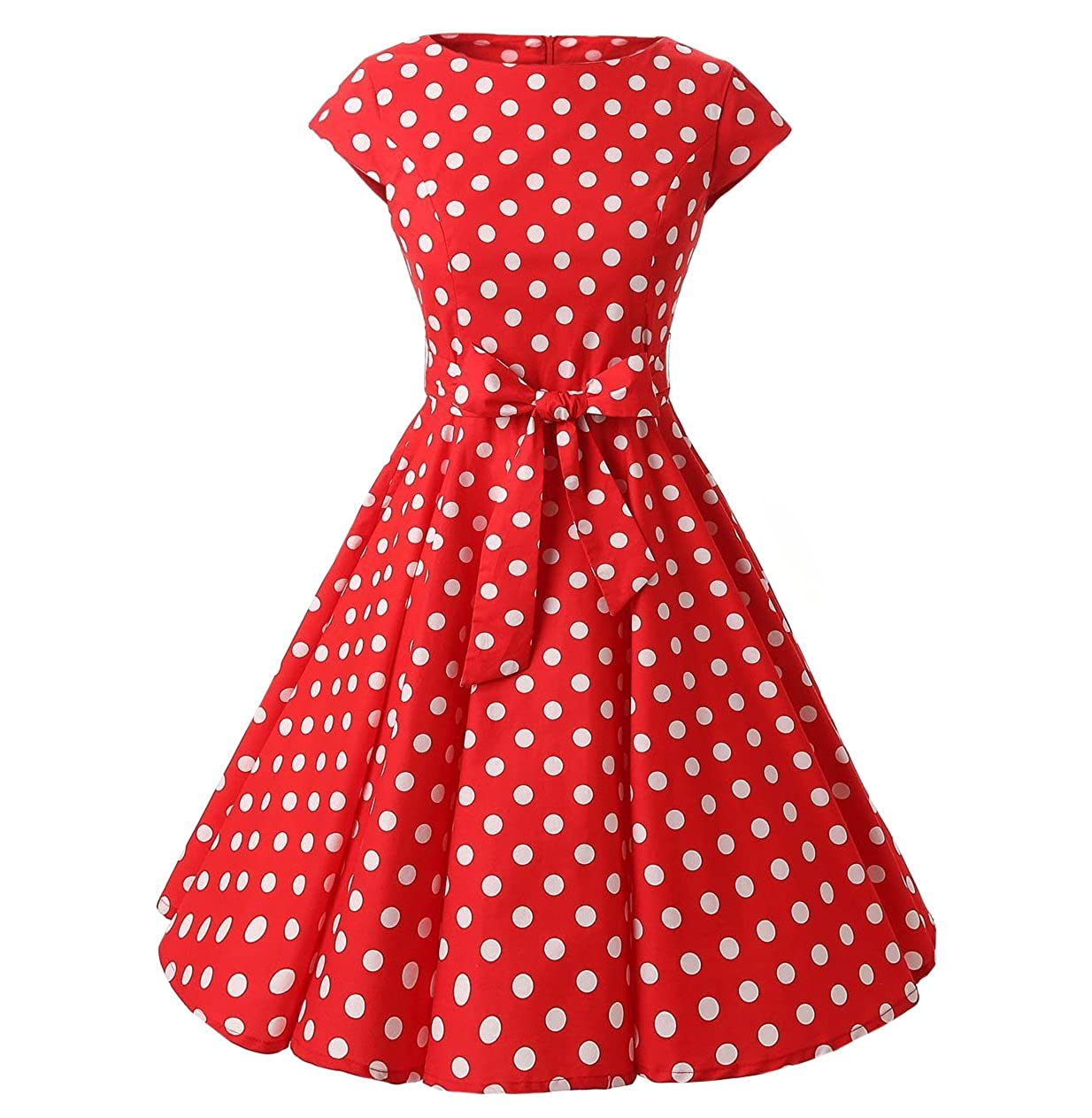 8297bbed6b044 DAROJ Women 1950's Capshoulder Polka Dots Rockabilly Full Circle Swing Dress  at Amazon Women's Clothing store: