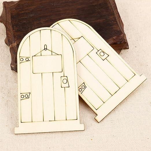 YARNOW 20pcs Unpainted Fairy Themed Mini Door Shape Wooden Pieces Wood Fairy Garden Door Miniature DIY Craft Embellishments for Fairy Garden Dollhouse Decoration 3mm