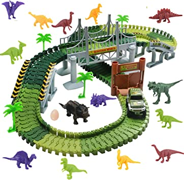 WoBoSen Pista Coches Flexible Juguetes con Dinosaurio Juego Electrónico para Niños 3 4 5 Años (Circuito Coches): Amazon.es: Juguetes y juegos