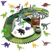 WoBoSen Pista Macchinine Elettriche Auto Veicoli con 14 pcs Dinosauro Pista Flessibile Giocattoli per Bambini 3 4 5 Anni,140 PCS (Dinosauro Pista)