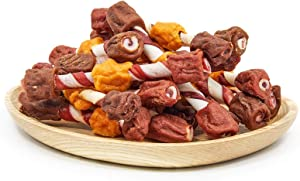 Jungle Calling Rawhide Twists Dog Treats, Triple Flavor Kabobs Chicken & Chicken Liver & Beef Wrapped Rawhide Sticks for Dogs