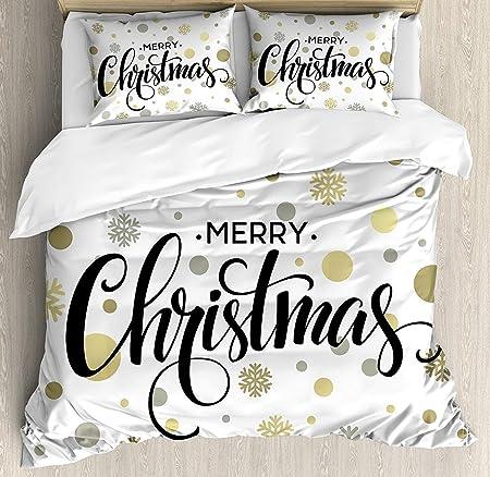 Copripiumino Scritte.Set Copripiumino Biancheria Da Letto 3 Pezzi Natale Scritte