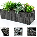 C-Hopetree Window Flower Box Hanging Plant Boxes Succulent Planter Pots Containers for Patio Indoor Outdoor, Brown Woven, Rectangle
