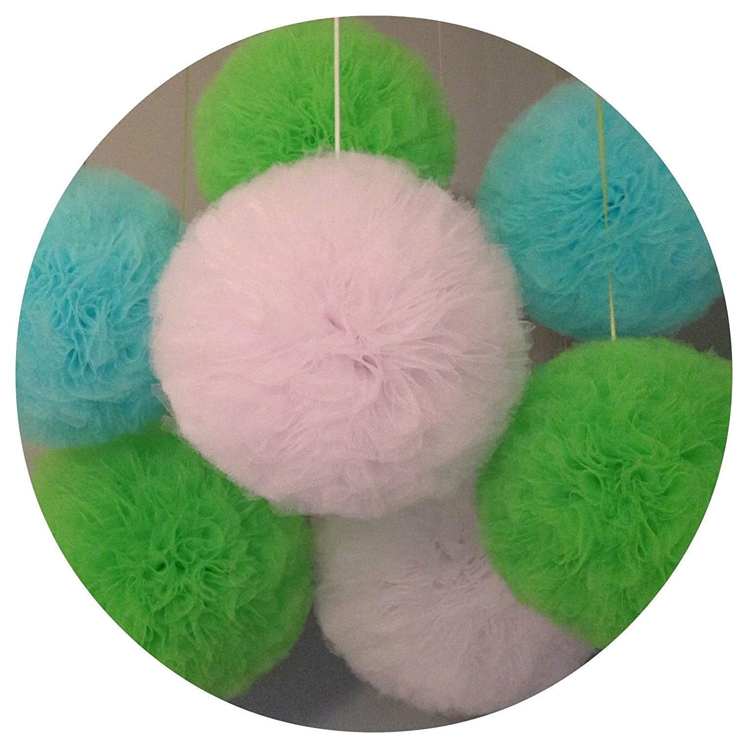 XSMALL 6 inch Tulle Pompom Flowers Fluffy Tulle Pom Poms Hanging Ball for Baby Shower Decorations Birthday Party Celebration Wedding Decor