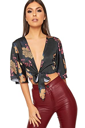 dd7d3ff45e453 WearAll Women s Floral Printed Satin Short Flared Sleeve Wrap Tied Crop Top  Ladies Belt - Black