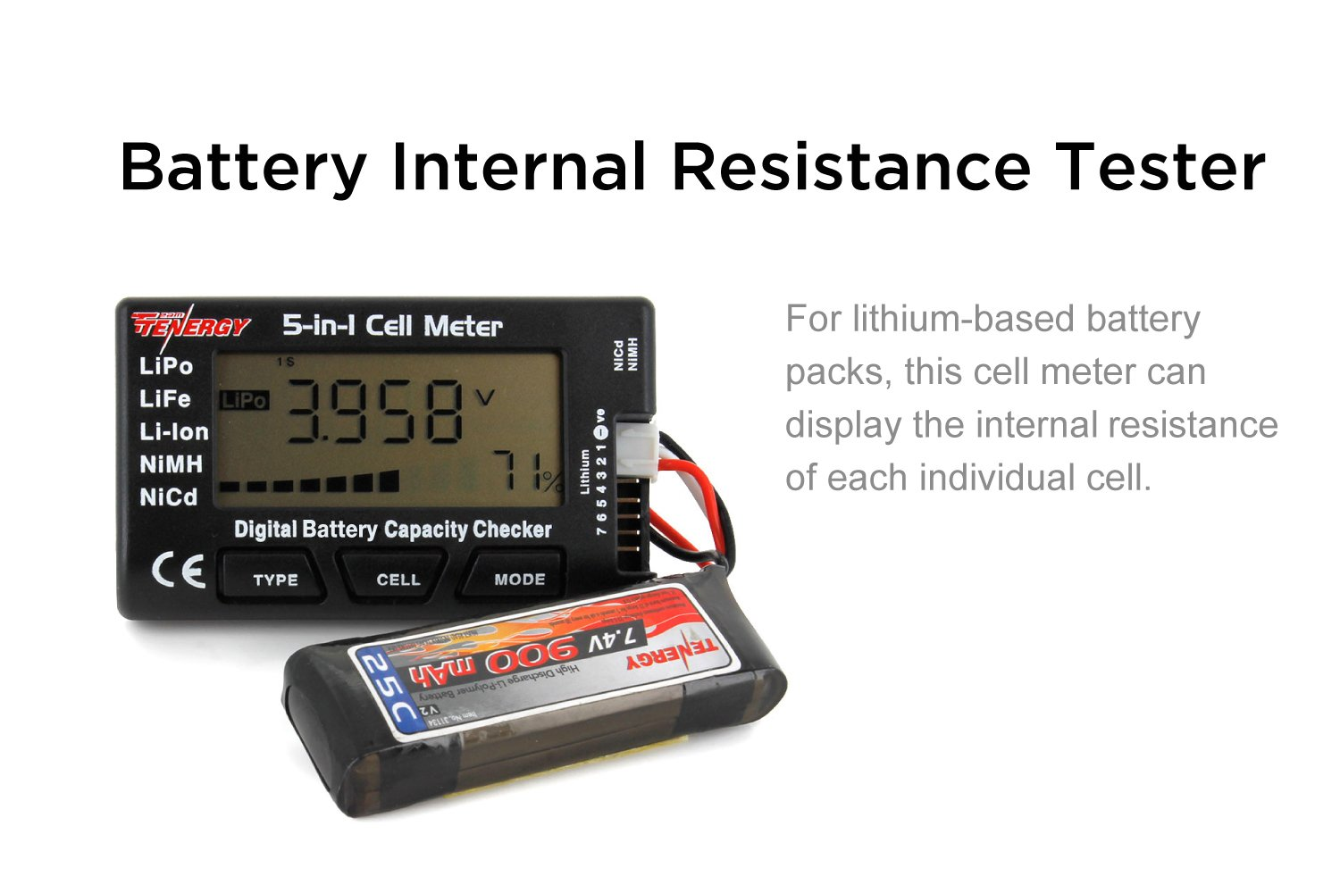 Tenergy 5 In 1 Battery Meter Intelligent Cell Chicago Charger Wiring Schematic Digital Checker Balancer For Lipo Lifepo4 Li Ion Nicd Nimh