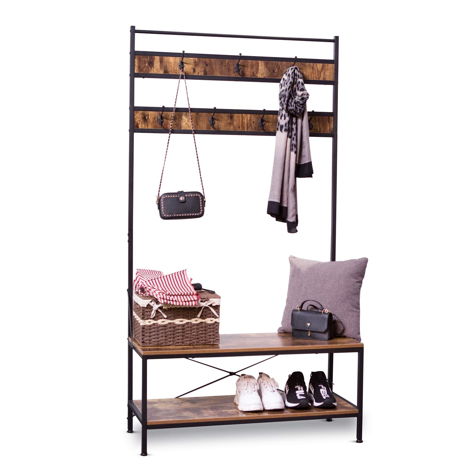 Enjoyable Ironck Coat Rack Free Standing Hall Tree Industrial Entryway Organizer Coat Stand With Storage Bench Mdf Board Multifunctional Sturdy Metal Frame Gmtry Best Dining Table And Chair Ideas Images Gmtryco