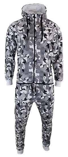 Survêtement homme style militaire camouflage sweat à capuche fermeture  éclair pantalon élastiqué coupe ajustée