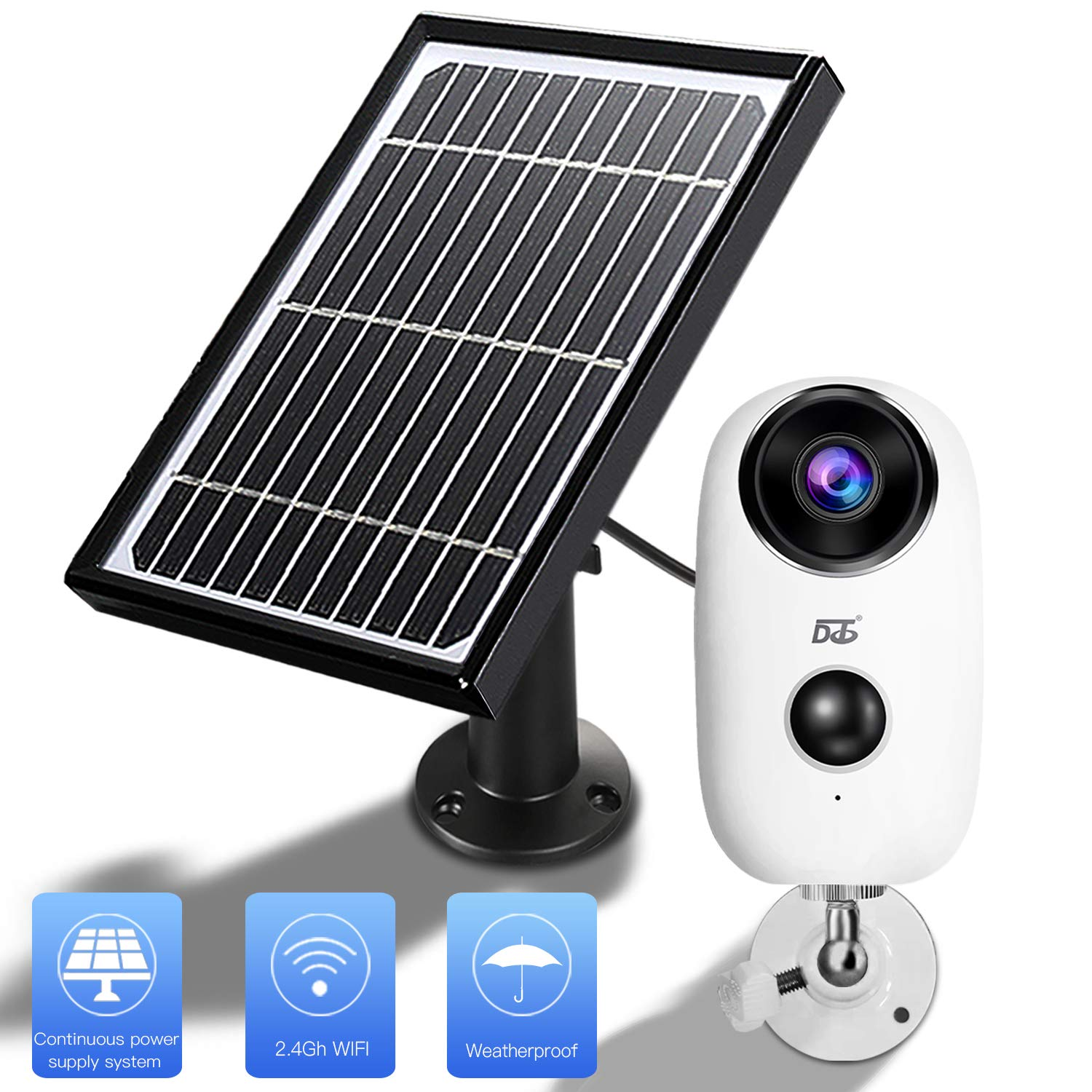 Solar Panel Wireles Camera,1080 HD WiFi Outdoor Security Camera System,Solar Powered,Rechargeable Batteries,2-Way Audio,IP65 Waterproof,Night Vision, App Remote, Long Time PIR Motion Record