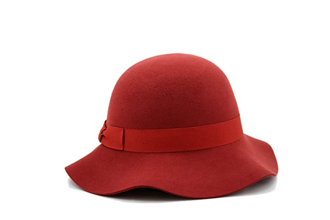 1930s Style Hats | 30s Ladies Hats Womens Winter Short Brim 100% Wool Cute Bowler Felt Hat (dark red) $38.00 AT vintagedancer.com