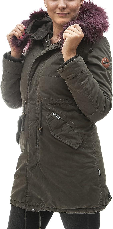 khujo Damen Parka Methone Mantel mit abnehmbarer Kapuze gefütterte Winterjacke
