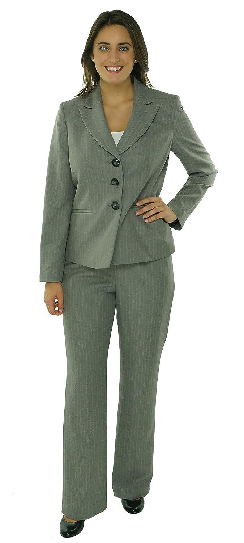 Evan Picone 3 Button Jacket & Pants Suit Pinstripe Grey & Peach