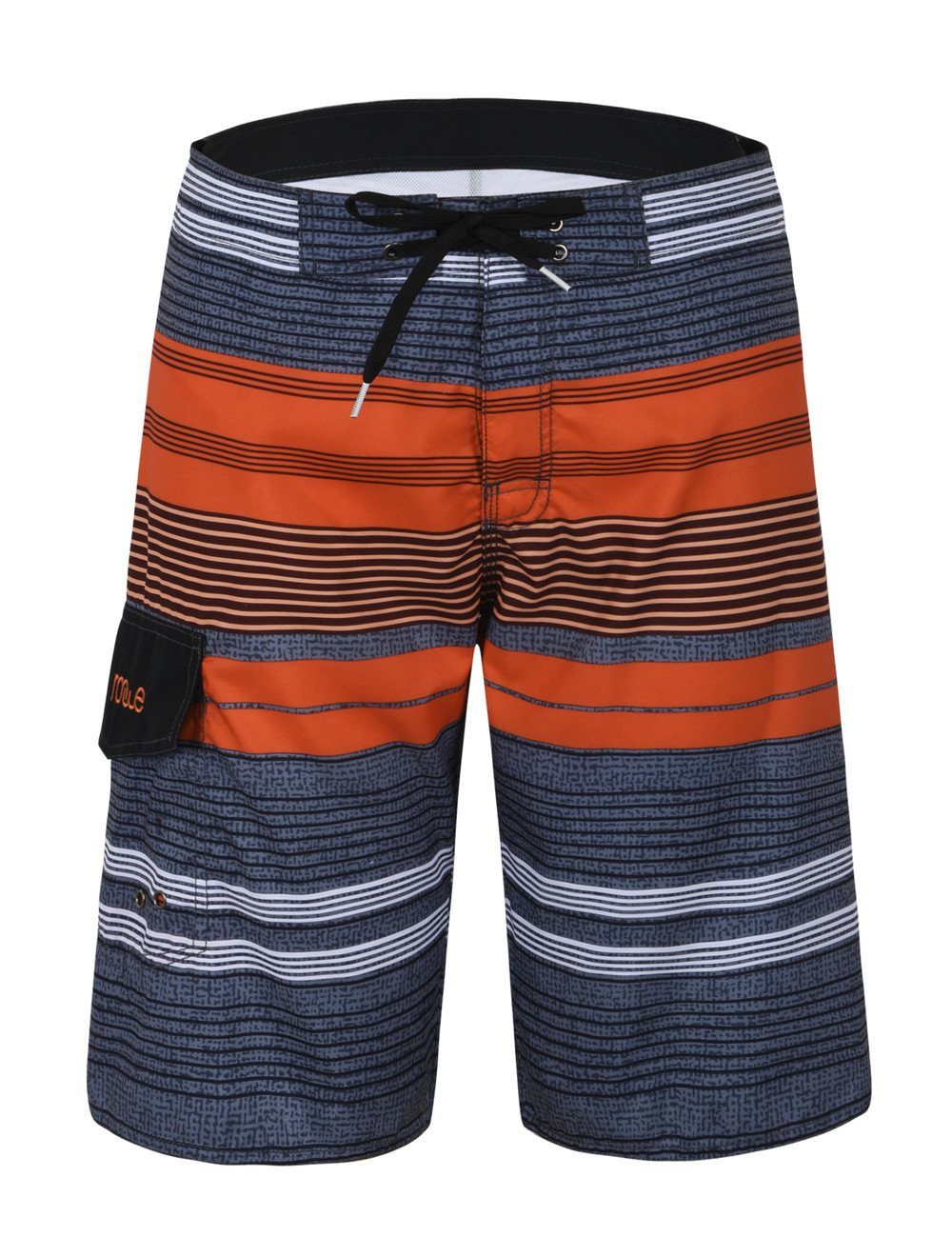 Nonwe Mens Stripe Quick Dry Board Shorts Orange Stripped 32