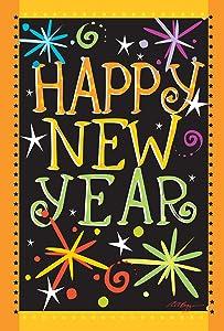 Toland Home Garden Happy New Year 12.5 x 18 Inch Decorative Firework Celebration Garden Flag (1110449)