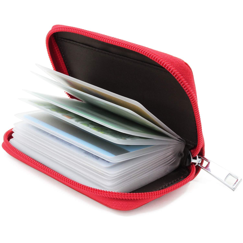 KEESIN Estuche de Tarjeta de crédito de Cuero para Mmujer ID Tarjeta de Visita con Cremallera Cartera 26 Ranuras para Tarjetas Unisex (Azul)
