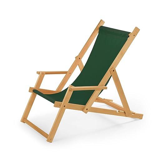 3 opinioni per Sedia a sdraio in legno con braccioli, da giardino o da spiaggia