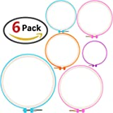 ZesGood 6 Pieces Embroidery Hoops Cross Stitch Hoop Embroidery Circle Set for DIY Art Craft, Plastic, 6 Different Size