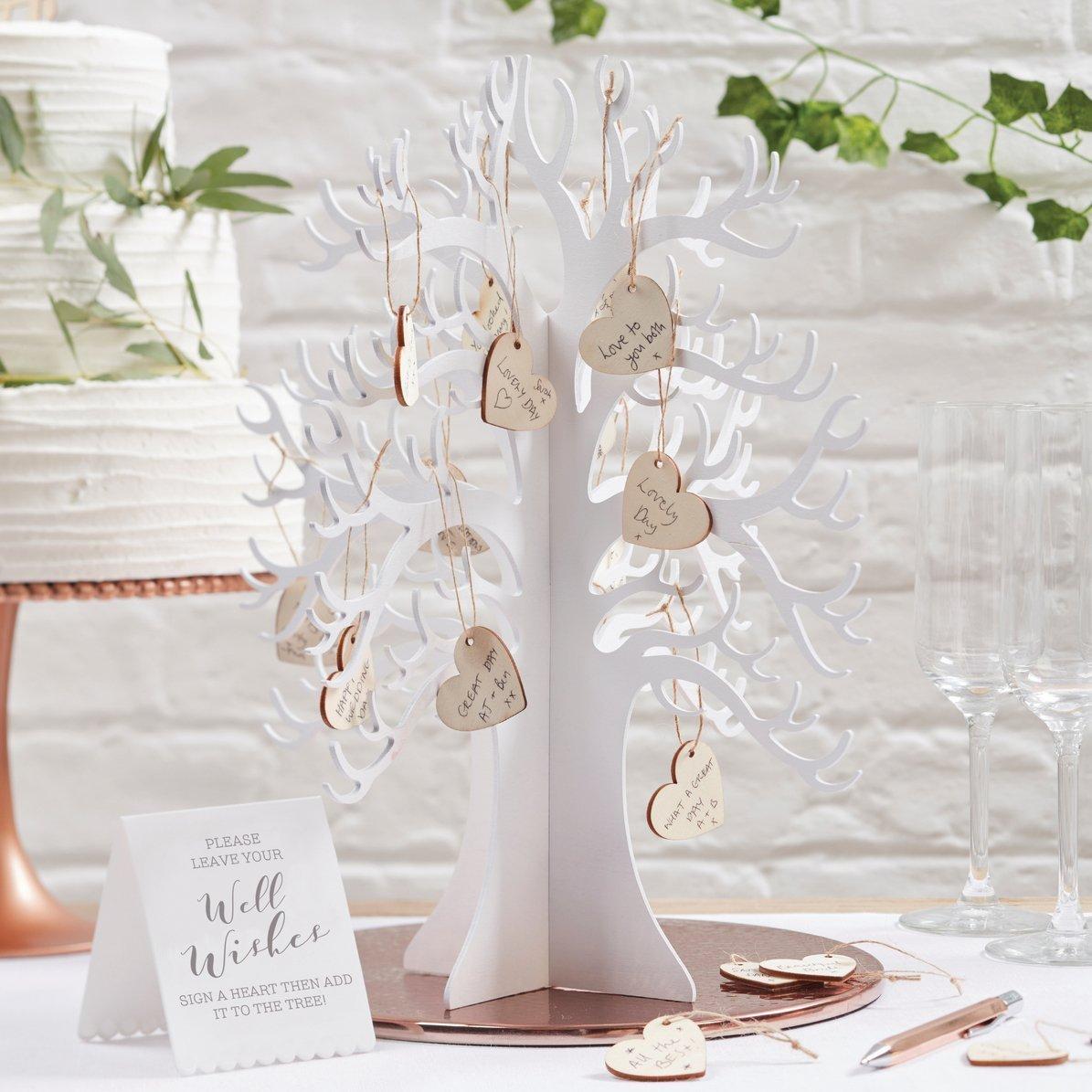 adorno de boda arbol con corazones de madera para deseos