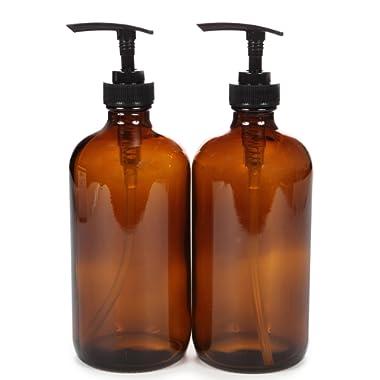 Vivaplex, 2, Large, 16 oz, Empty, Amber Glass Bottles with Black Lotion Pumps