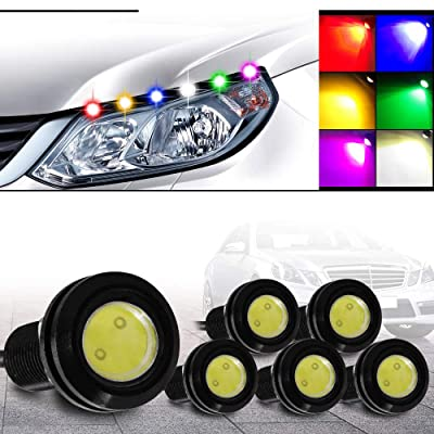 KaiDengZhe 6Pcs High Power 18mm White Eagle Eye LED Light Bulbs 9W DRL Fog Light Daytime Running Lights Car ATV Camper Trunk Motorcycle Marker Lights Lamp Tail Reverse Fog Light: Automotive