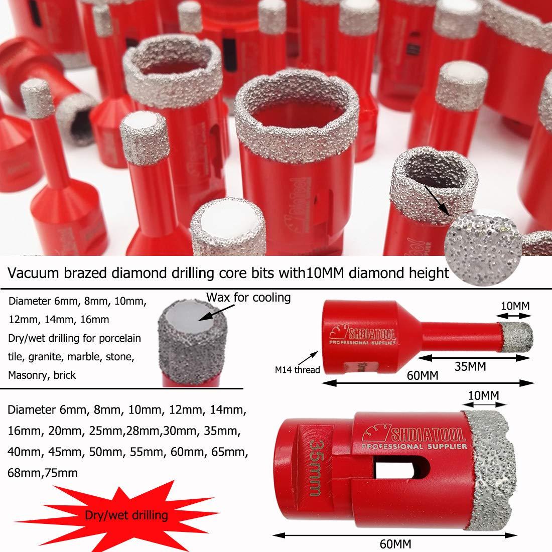 SHDIATOOL Dry Diamond Drill Bits Set Vacuum Soldered Holes Porcelain Tiles Granite Marble