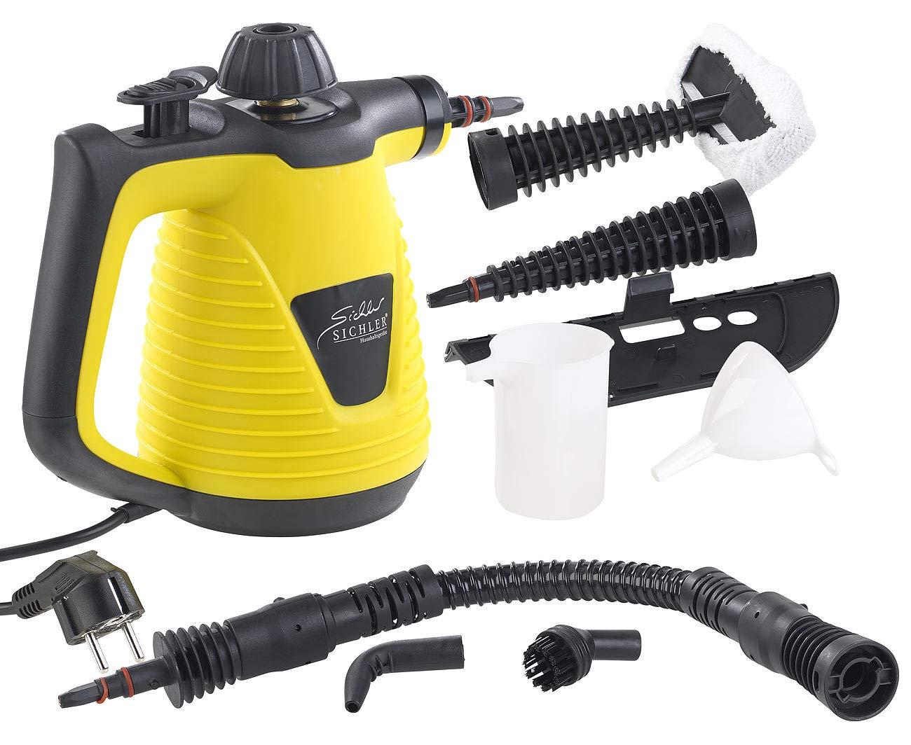 sichler Elettrodomestici mano pulitore a vapore: Pulitore a vapore portatile con ampio pacchetto accessori, 1.000W (dampfente) Sichler Haushaltsgeräte