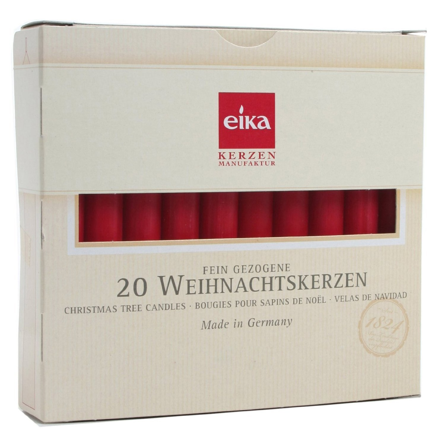 Eika Box of 20 finest Tree Candles - Solid colored - Made in Germany - Burgundy - Dark Red