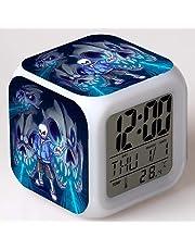 HHKX100822 La Leyenda Dice Que El Reloj Despertador Bajo El Juego Undertale Ranger Tobyfox Colorido Estado De Ánimo Led Brillan Pequeño Reloj Despertador