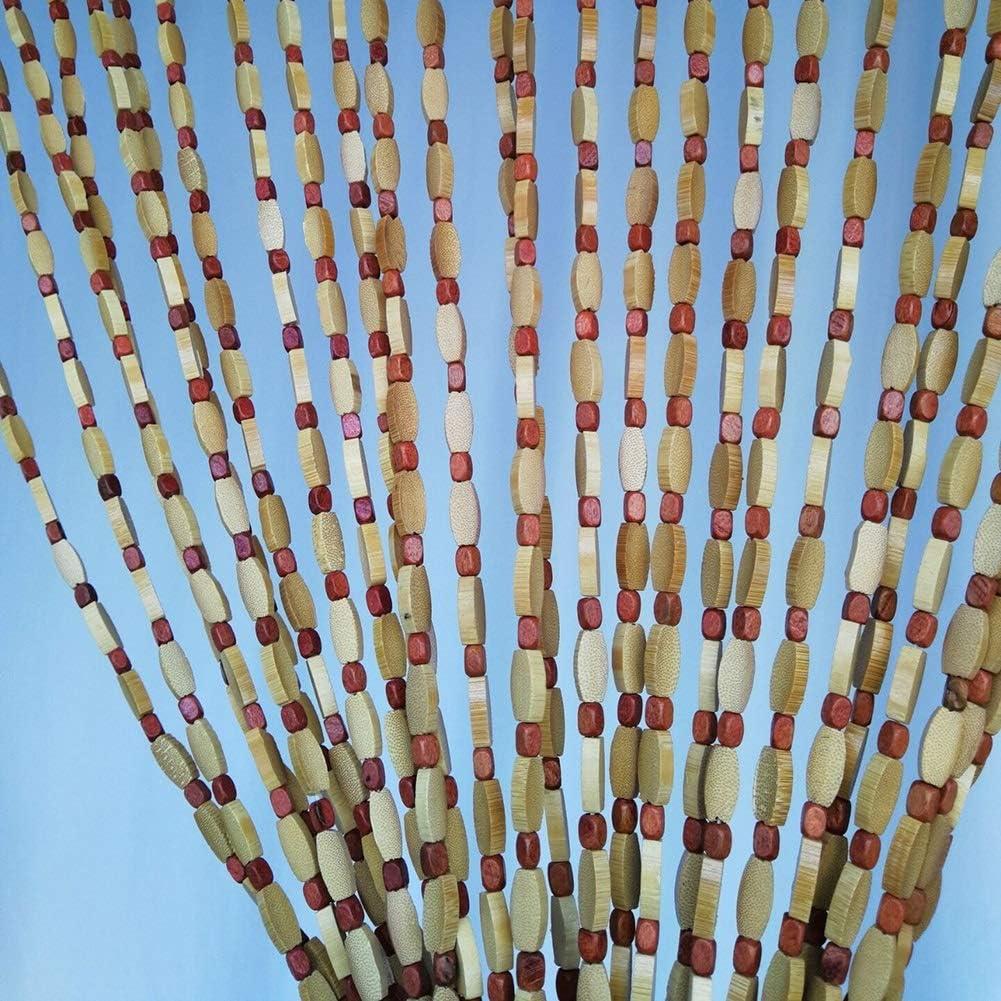 GuoWei-Cortinas de Cuentas Bambú Madera Puerta Colgante Cuerdas ...