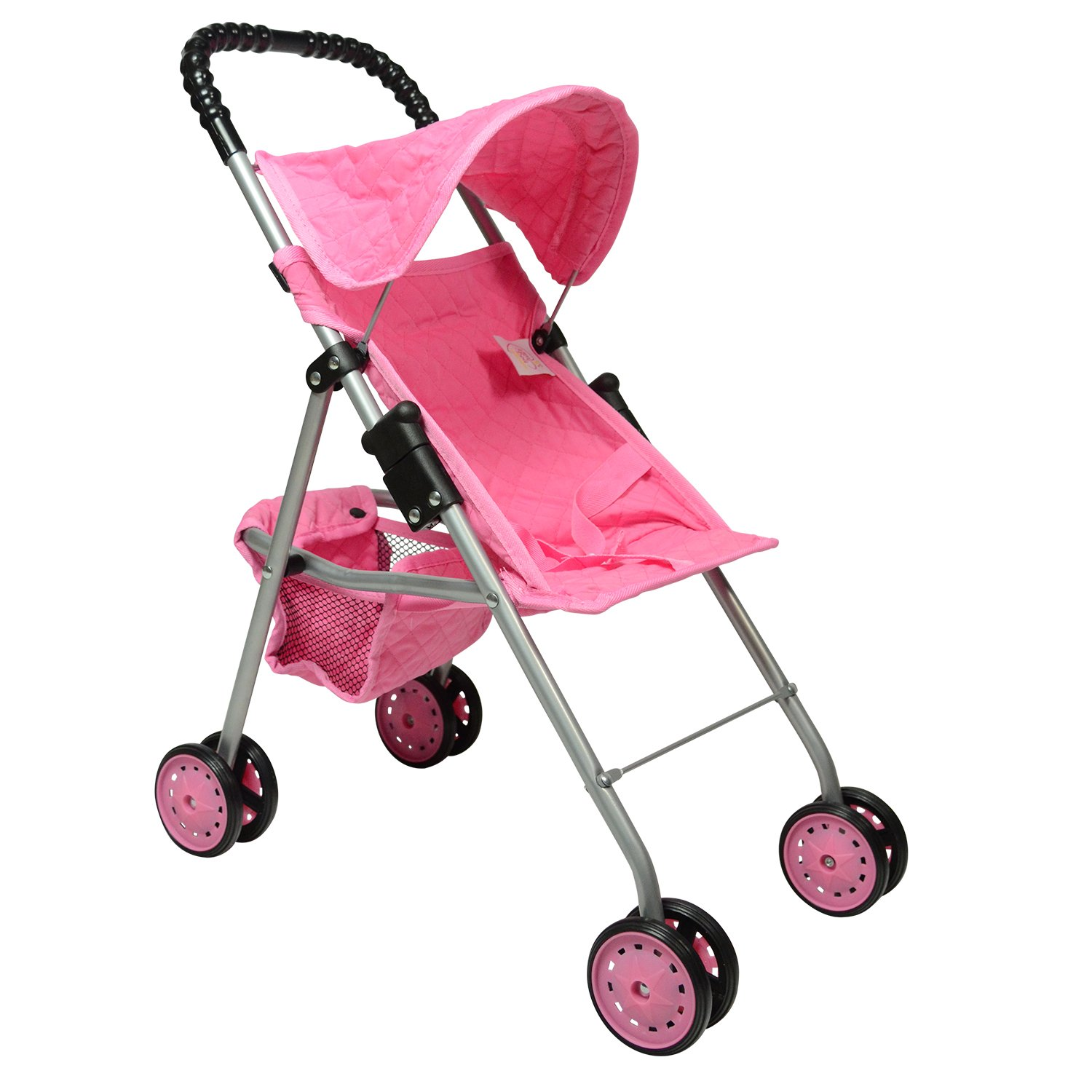 First Doll Stroller for Kids (Pink Quilted)
