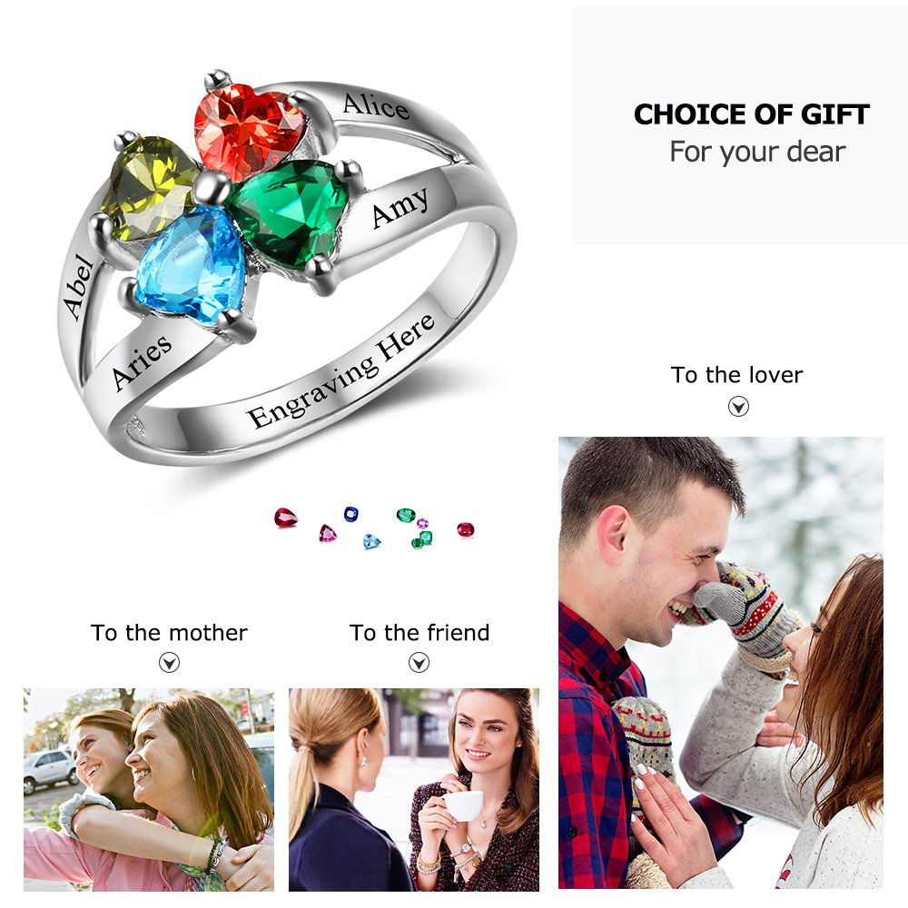 Diamondido Personalized Mother's Day Rings Family Jewelry Engrave Names Simulated Birthstone Rings for Women (6) by Diamondido (Image #4)
