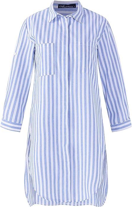 a65816d32c28 Auxo Woman Long Sleeve Shirt Stripe Cuffed Sleeve Long Top Casual Loose  Baggy Tunic Blouse Plus Size Blue Size S/UK 8: Amazon.co.uk: Clothing