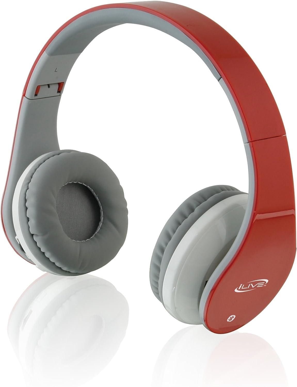iLive iAHB64R Wireless Bluetooth Headphones, Red