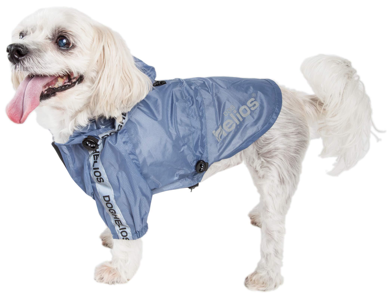 Dog Helios 'Torrential Shield' Waterproof Multi-Adjustable Pet Dog Windbreaker Raincoat, Small, Blue