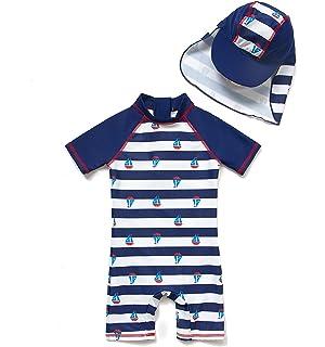 c35e40a76029b Bonverano ラッシュガード 水着 男の子 半袖 UPF50+ UVカット 0-3歳 ワンピース キャップ付き