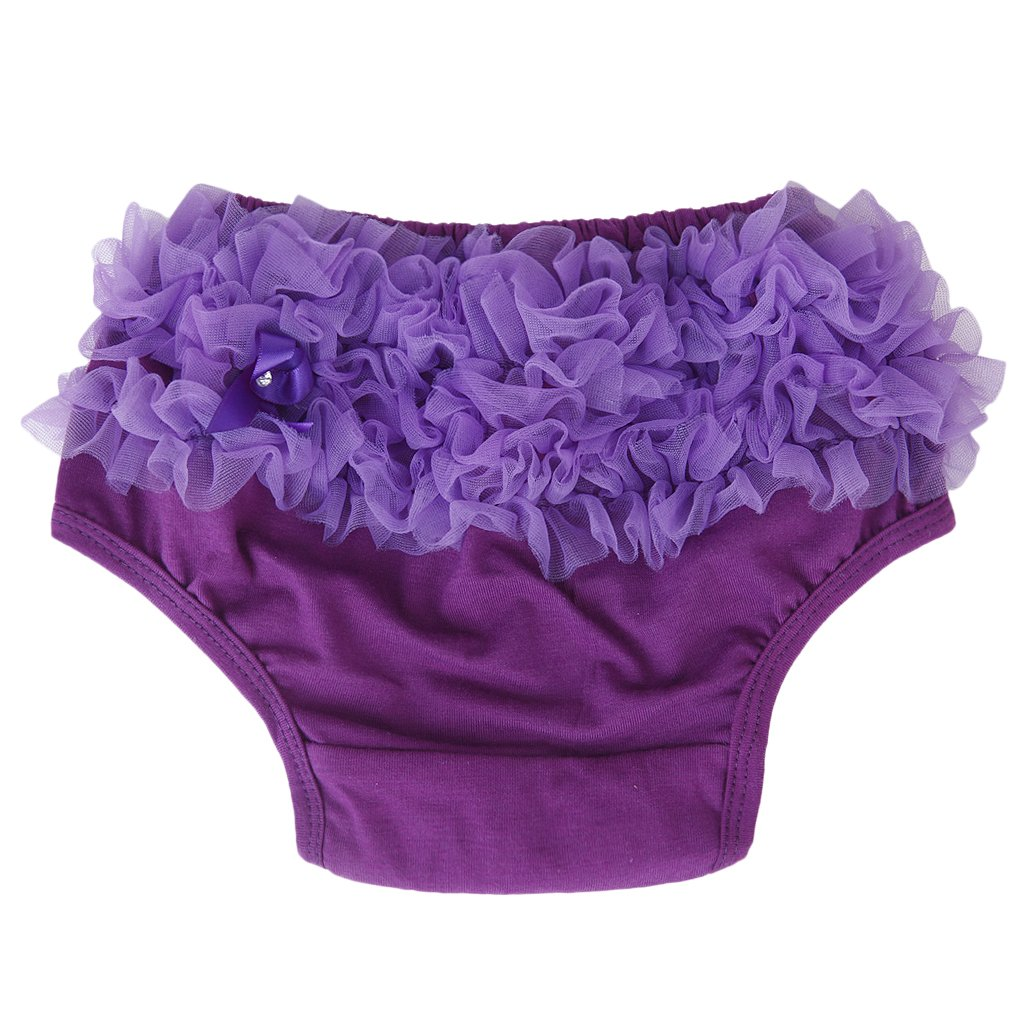 Baby Girl's Pure Cotton Ruffle Pants Bloomers Nappy Cover - S Purple Unknown STK0112007587